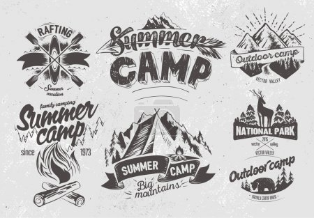 Set outdoor camp typography labels