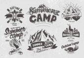 Set outdoor camp typography labels