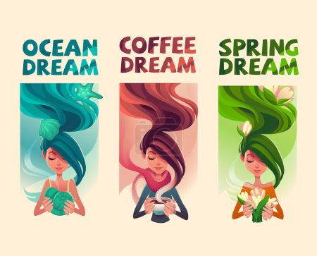 Illustration for Girls dreams cards vector banners - Royalty Free Image