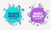 Travel and tourism background and illustration Work and business background and illustration Globe hand drawn