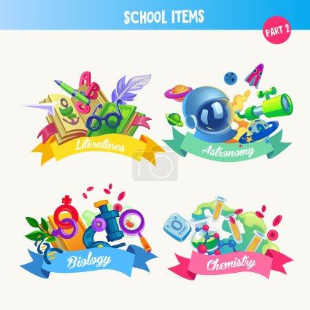 Design set with school items