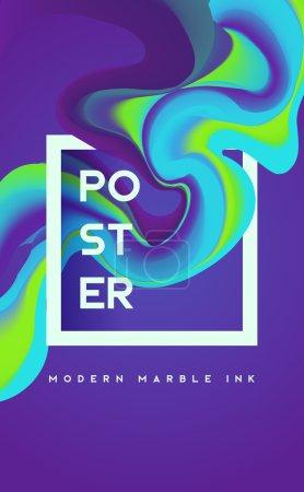 Illustration pour Affiche moderne d'encre de marbre. Forme liquide en arrière-plan de couleur. Design d'art pour votre projet . - image libre de droit