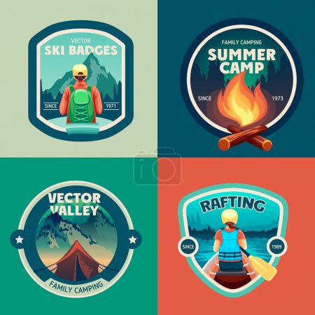 Set of outdoor adventure camp labels
