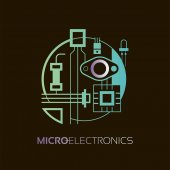 Electronic components The sign and symbol for creation of logo design as radio market microchip shop and internet shop