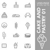High quality thin line icons of of cake sweets food pastry Linelinge are the best pictogram pack unique linear design for all dimensions and devices Stroke vector logo symbol and website content