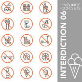 Premium stroke icon set of facilities prohibitions interdiction danger symbols and hazardous sign 05 Linelinge modern outline symbol collection