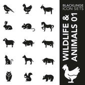 Premium black and white icon set of animal wildlife and pets 01 Blacklinge modern black and white symbol collection
