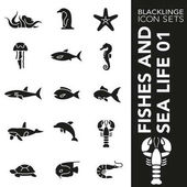 Blacklinge Fishes and Sea Life 01 Black and White icon sets