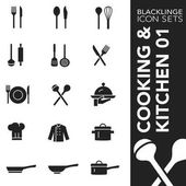 Blacklinge Cooking and Kitchen 01 Black and White icon sets