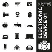 High quality black and white icons of electronic device technology and electronics Blacklinge are the best pictogram pack unique design for all dimensions and devices Black vector graphic logo symbol and website content