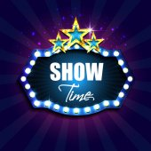 Show time Retro light sign Vintage style banner with gold stars Vector illustration