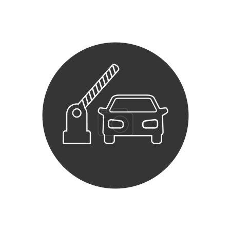 Offene Schranke, Auto-Vektorzeilen-Symbol auf weiß