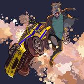 Kreslený strach chlape spadá od zřícení do vzduchu auta