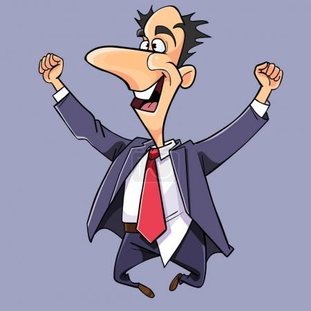 Illustration pour Dessin animé homme en costume et cravate sauté et se réjouit - image libre de droit