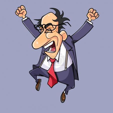 Illustration pour Dessin animé homme en costume avec une cravate célébrant - image libre de droit