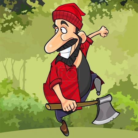 Illustration pour Dessin animé bûcheron heureux court à travers la forêt avec une hache - image libre de droit