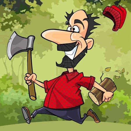 Illustration pour Dessin animé drôle bûcheron court à travers la forêt avec une hache - image libre de droit