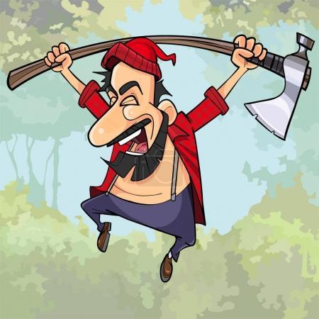 Illustration pour Dessin animé heureux bûcheron avec une hache saute dans les bois - image libre de droit