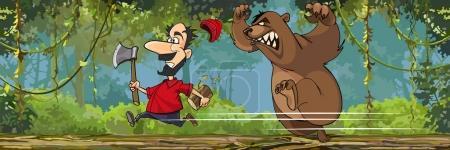 Illustration pour Dessin animé bûcheron avec une hache fuit un ours en colère - image libre de droit