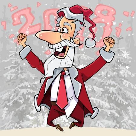 Illustration pour Dessin animé heureux Père Noël sauté et se réjouit dans les bois 2018 - image libre de droit