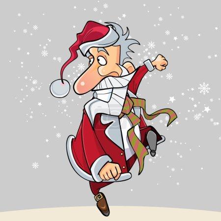 Illustration pour Dessin animé drôle Père Noël fonctionne heureusement sur le hop - image libre de droit