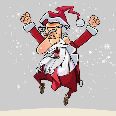 Illustration pour Dessin animé Père Noël heureux avec des lunettes a sauté heureux - image libre de droit