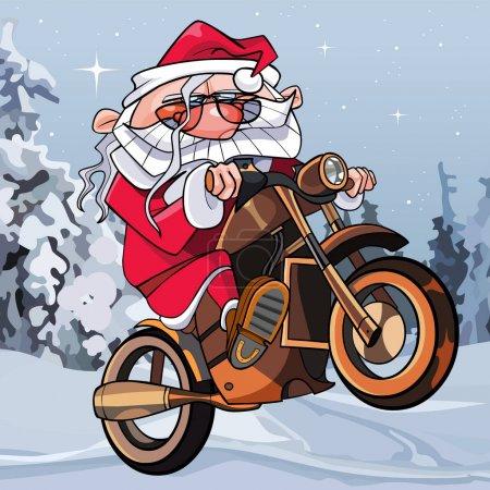 Illustration pour Dessin animé drôle Père Noël sur une moto dans les bois - image libre de droit