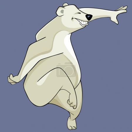 Illustration pour Dessin animé d'un ours polaire souriant amusant danse - image libre de droit