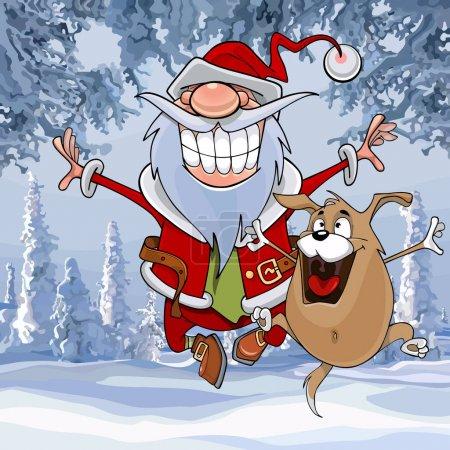 Illustration pour Dessin animé Père Noël rebondit heureux avec un chien dans la forêt d'hiver - image libre de droit