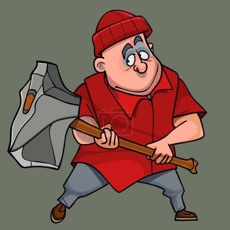 Illustration for Cartoon man in modern clothes with huge stone ax - Royalty Free Image