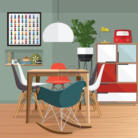 Illustration for Dinning room with furniture set. Cozy room interior with table, stove, cupboard and dishes. Flat style vector illustration. - Royalty Free Image