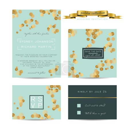 Illustration for Elegant wedding set with rsvp and save the date cards, decorated with golden glitter. - Royalty Free Image