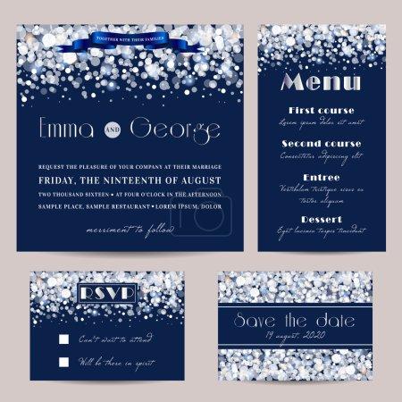 Illustration pour Ensemble de mariage élégant, décoré avec des paillettes lumineuses . - image libre de droit