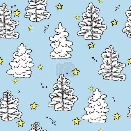 Hand drawn snowy fir-tree