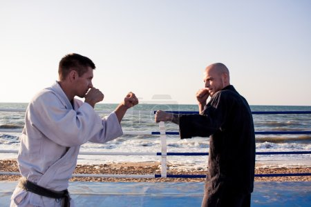 karate sparing of two fighters close up picture