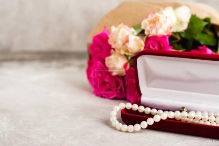 Pearl necklace and bouquet