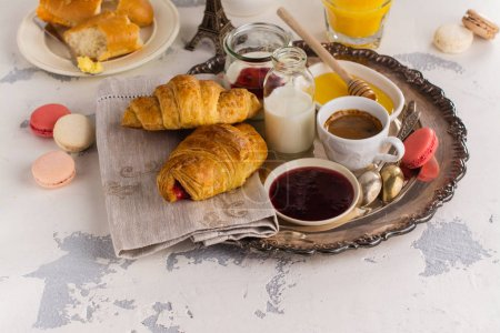 Photo for Traditional french breakfast with coffee and croissants - Royalty Free Image