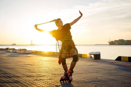 Young girl with roller skates