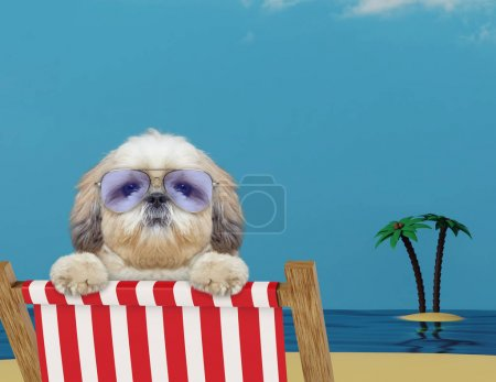Cute dog relaxing on a red deck chair