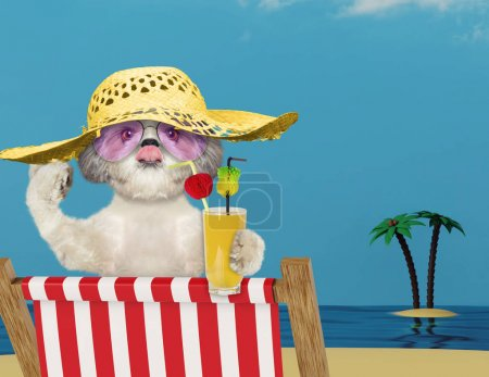 Cute dog relaxing with juice on the beach