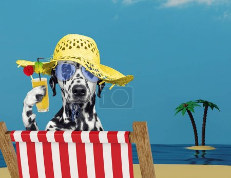 Dalmatian dog relaxing with juice on the beach