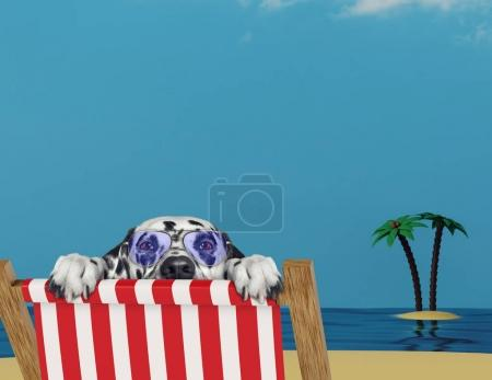 Dalmatian dog relaxing on a red deck chair on the beach