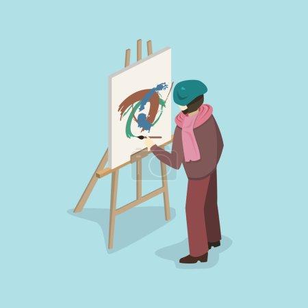 Illustration for Artist painter at work, vector illustration - Royalty Free Image