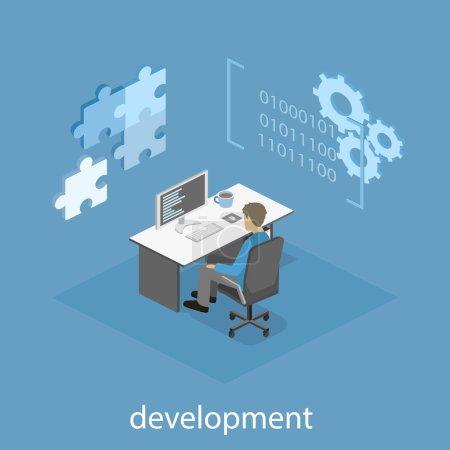 Illustration pour Illustration conceptuelle isométrique vectorielle 3D plate du développeur de logiciels de bureau et du travail d'équipe. développement d'applications mobiles . - image libre de droit