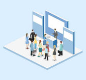 Isometric flat 3D concept vector exhibition or promotion stand Trade show booth