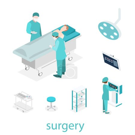 Illustration for Isometric flat 3D concept vector interior of Surgery Department. Hospital Plastic Surgery Operating Theater Medical Doctor Surgeon and Patient Surgery Infographic. - Royalty Free Image