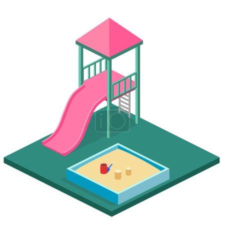 Isometric kids playground set.