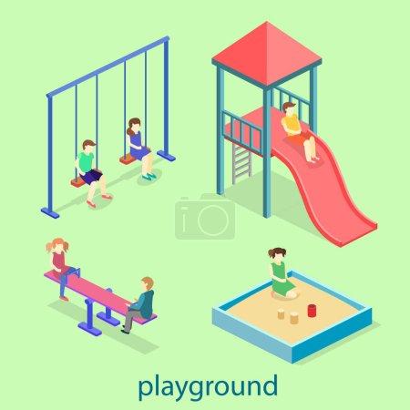 Illustration pour Ensemble de terrain de jeu pour enfants Isometric flat 3D concept web vector. enfants balançoires, toboggan, bac à sable et autres objets - image libre de droit