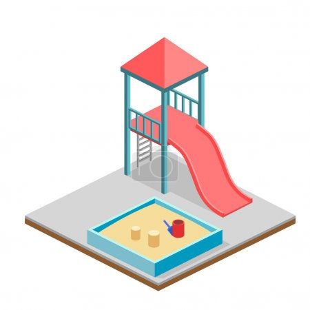 Illustration for Isometric flat 3D concept web vector kids playground set. children swings, slide, sandbox and other objects - Royalty Free Image