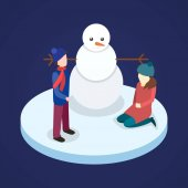 Illustration vector of a Family Playing with Snowman